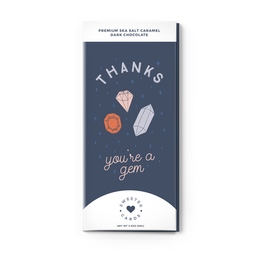 Sweeter Cards - Thank You - Greeting Card + Chocolate Bar