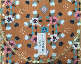 Organic Reusable Sandwich Bag, Rust Flowers