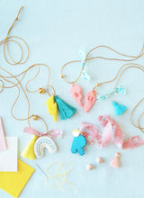 Felt Charm Necklace Kit (materials to make 5 charm necklaces)