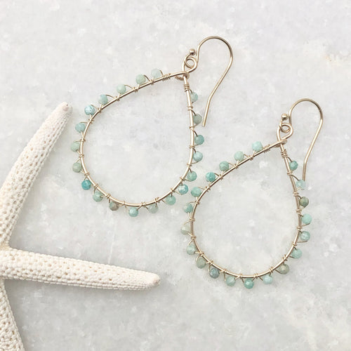 Amazonite Teardrop Hoop Earrings