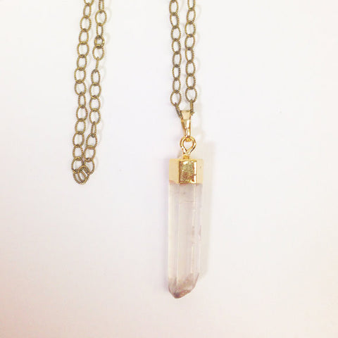 Gold Quartz Crystal Pendant