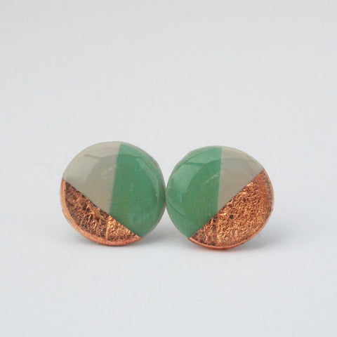 Geometric Jade and Copper Foil Stud Earrings