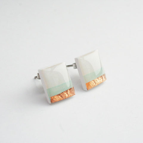 Layered Mint White and Copper Stud Earrings