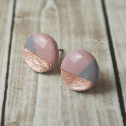 Geometric Rose Gold Color Block Stud Earrings