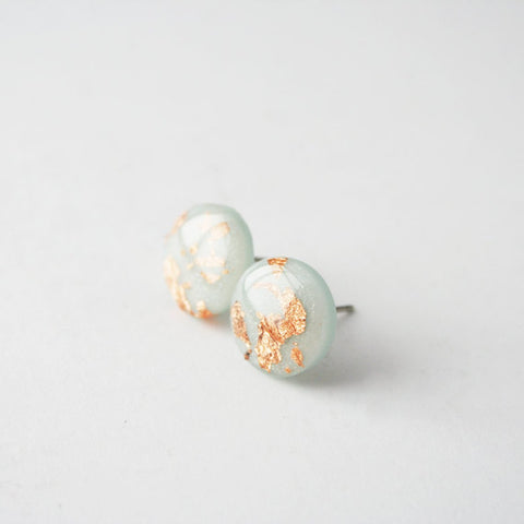 Ice Block Copper Fleck Circle Stud Earrings