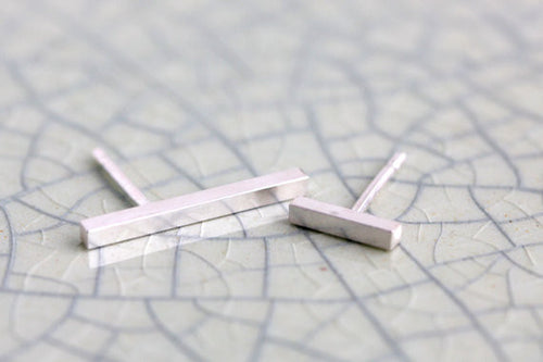 Asymmetrical Sterling Silver Bar Post Earrings