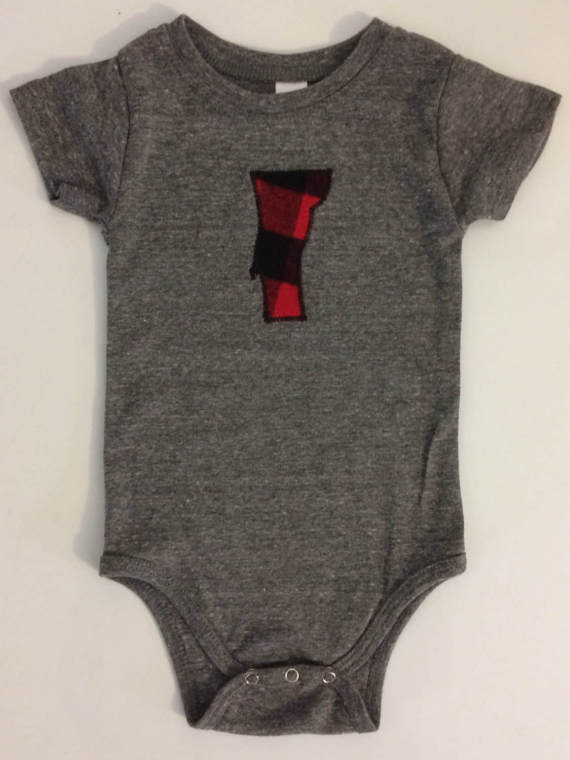 Vermont Baby Buffalo Plaid Applique Body Suit