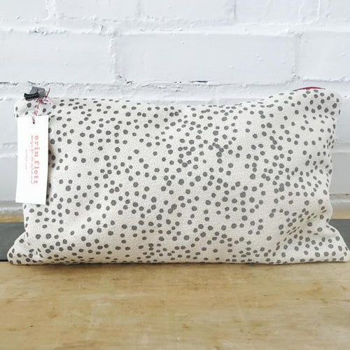 Charcoal Polka Dot on Oatmeal Linen Cosmetic Bag