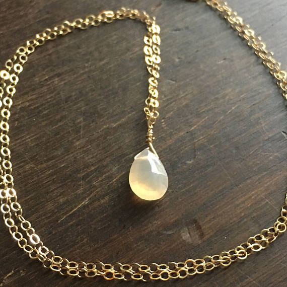 Moonstone Drop Necklace :: Sensitive + Soothing