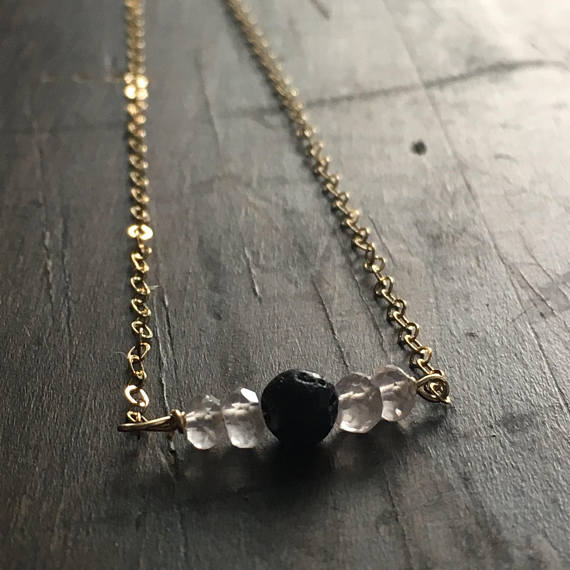 Tiny Labradorite & Lava Stone Essential Oil Diffuser Necklace
