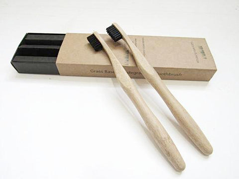 Bamboo Biodegradable, Anti-Bacterial, Charcoal-Infused, Teeth-Whitening Toothbrush, Set of 2