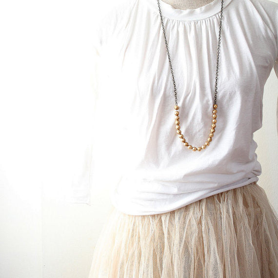 Long Golden Beaded Strand Necklace