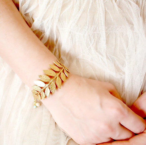 Golden Woodland Adjustable Cuff Bracelet with GP chain