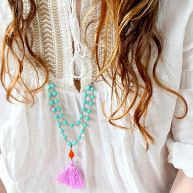 Aqua Bead Strand and Lilac Tassel Necklace