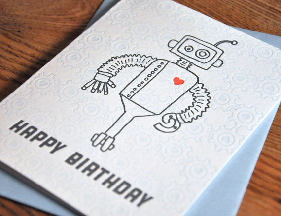 Robot Wheels Birthday Card