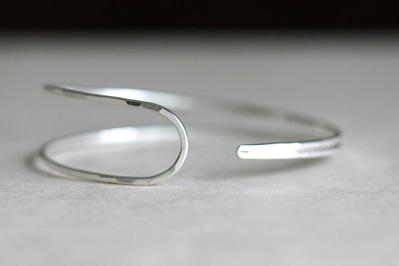Asymmetrical Teardrop Cuff, Gold or Silver