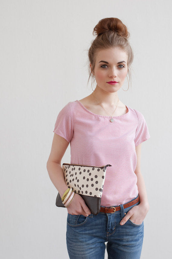 Charcoal Dots Clutch, Hand Printed Canvas, Leather Details