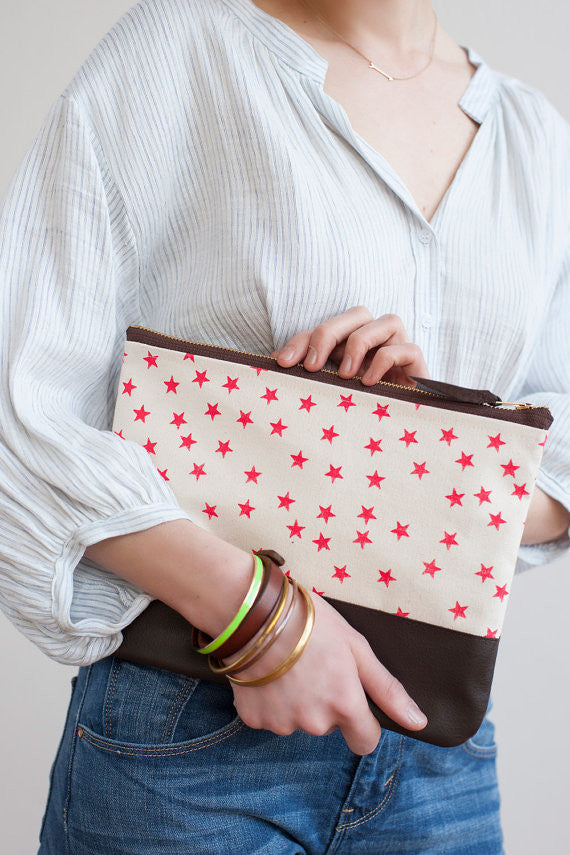 Watermelon Stars Clutch, Hand Printed Canvas, Leather Details