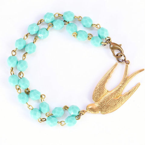 Golden Swallow Aqua Beaded Bracelet