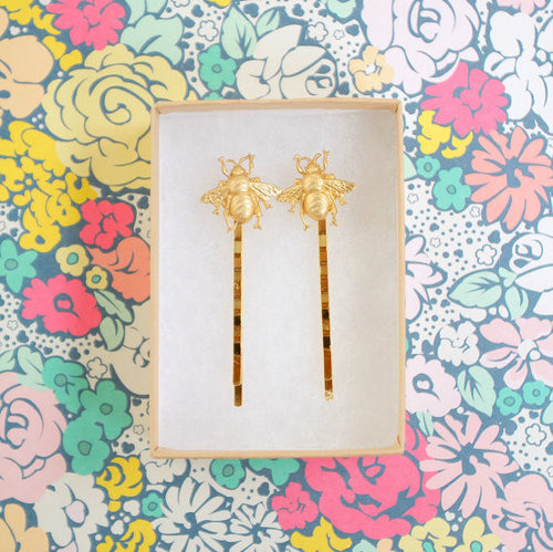 Bee's Knees Golden Bobby Pin, Set of 2