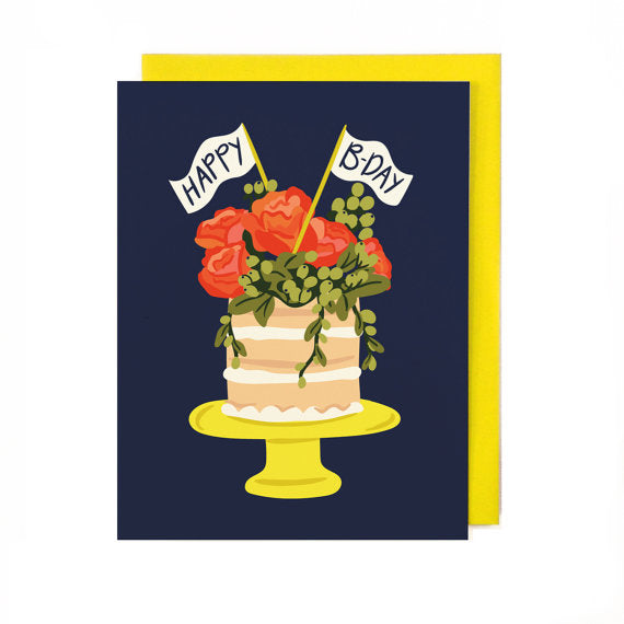 Florals & Cake Birthday Card