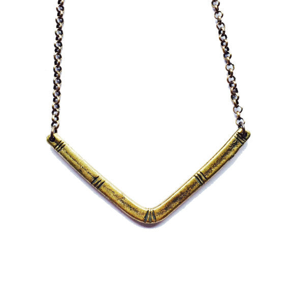 Carved V Brass Necklace