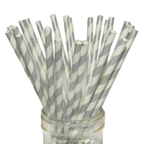 Metallic Silver Striped Straws