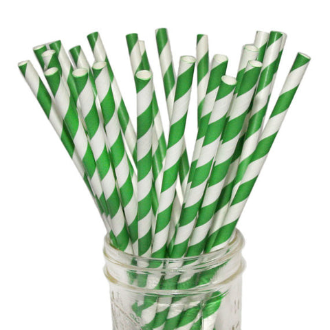 Green Silver Striped Straws