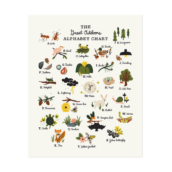 "The Great Outdoors Alphabet Chart 11"" x 14"""