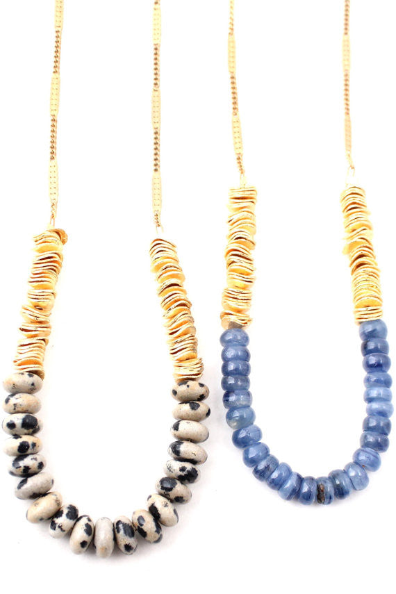 Gemstone and gold beaded necklace (assorted gemstones)