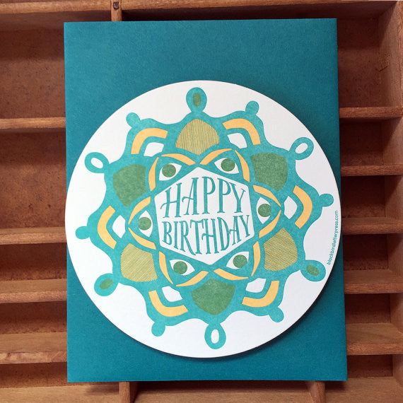 Letterpress Radial Birthday Card