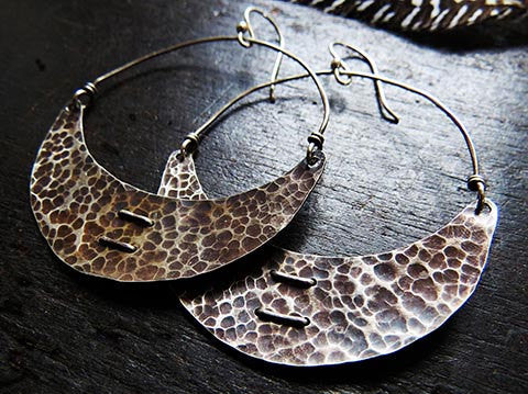 Silver Stitched Crescent Earrings