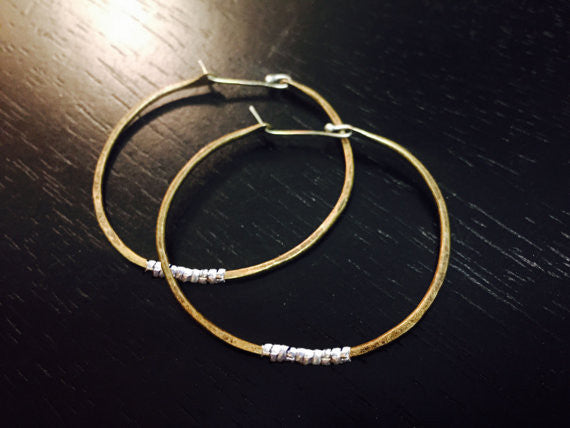 Forged Brass Hoop Earrings with Silver Heishi