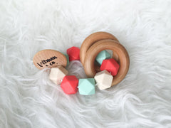 Organic Wood and Silicon Teether + Rattle :: assorted colors