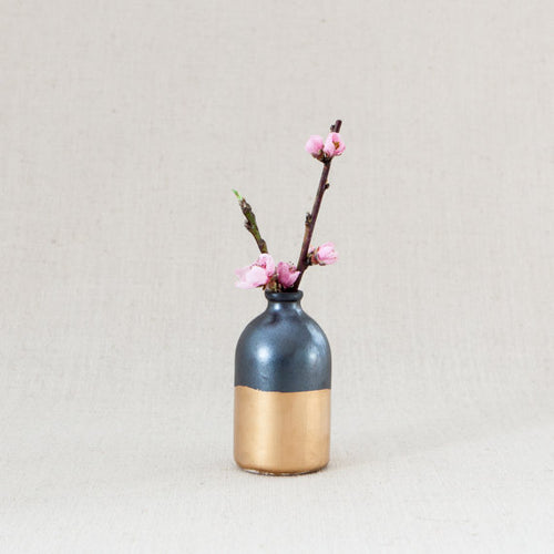 Black + Gold Bud Vase