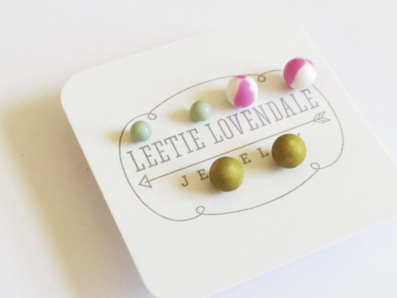 Lucite Stud Earrings Set :: lilac, chartreuse, grey blue