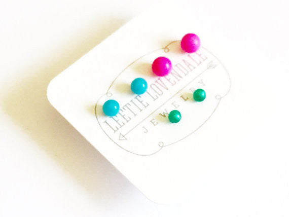 Tiny Stud Earrings Set :: neon, pink, teal