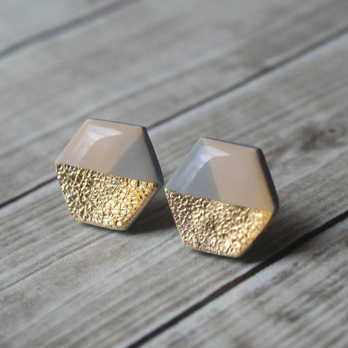 Beige, Grey, and Gold Hexagon Stud Earrings
