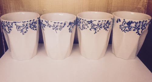 Blue + White Espresso Cups, Set of 4