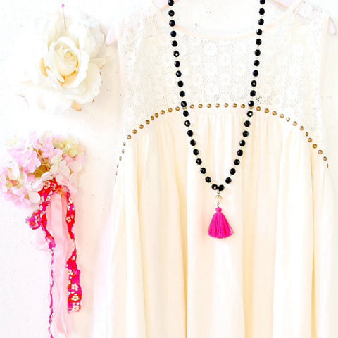 Fuschia Tassel Black Strand Statement Necklace