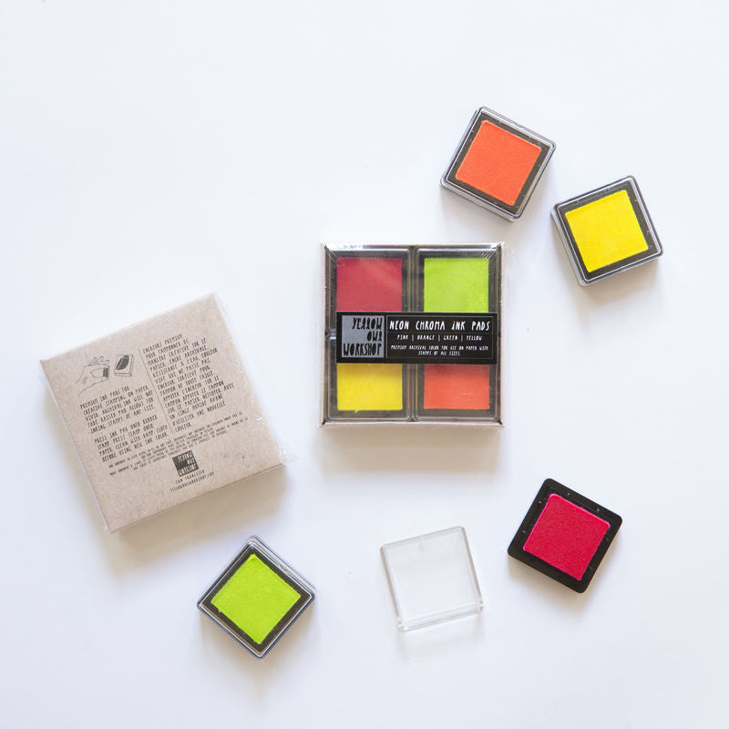 NEON CHROMA INK PAD SET - PINK/ORANGE/GREEN/YELLOW