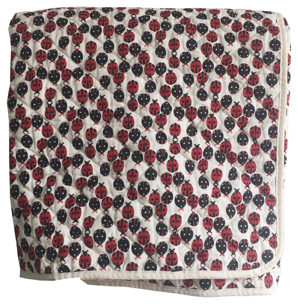 Quilted Canvas Throw Ladybugs
