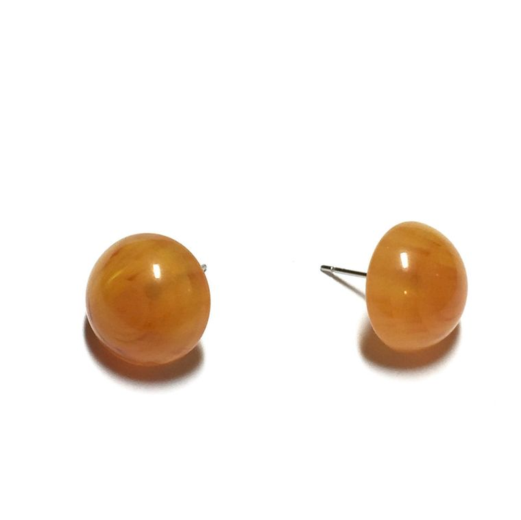 Amber Vintage Lucite Stud Earrings