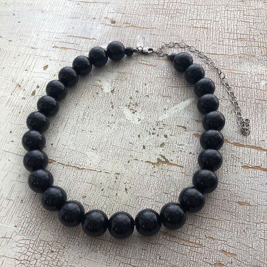 Black Beaded Marco Necklace