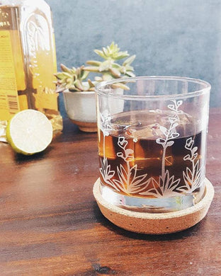 Agave Succulent Cactus Etched Whisky Glass
