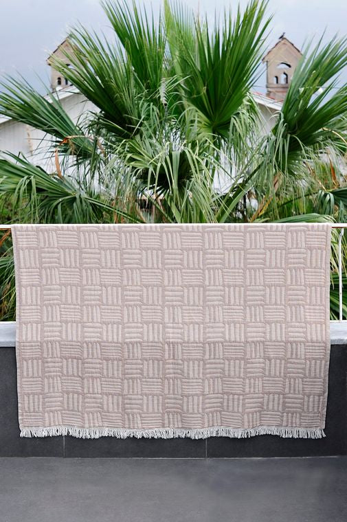 Ani Jacquard Cotton Blanket Beige