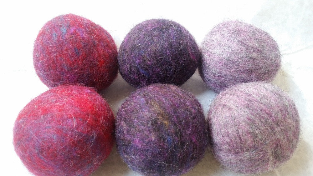 Plummy Purple Felted Wool Dryer Balls