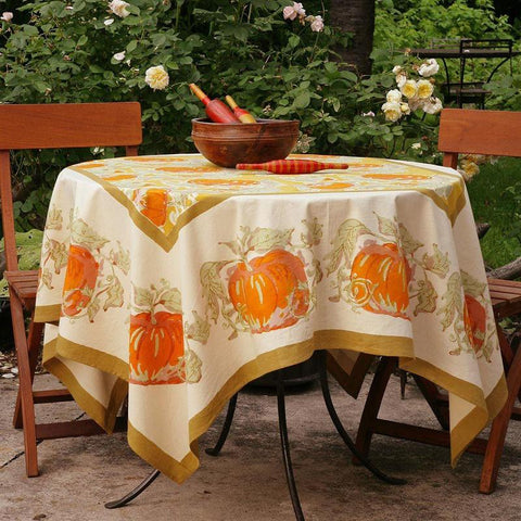"Pumpkin Tablecloth 59"" Square, Orange/Mustard"