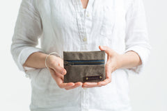 Waxed Canvas Zipper Wallet : Business Card Holder :: assorted colors