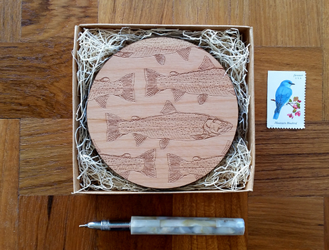 Laser Cut Wood Trout Coasters